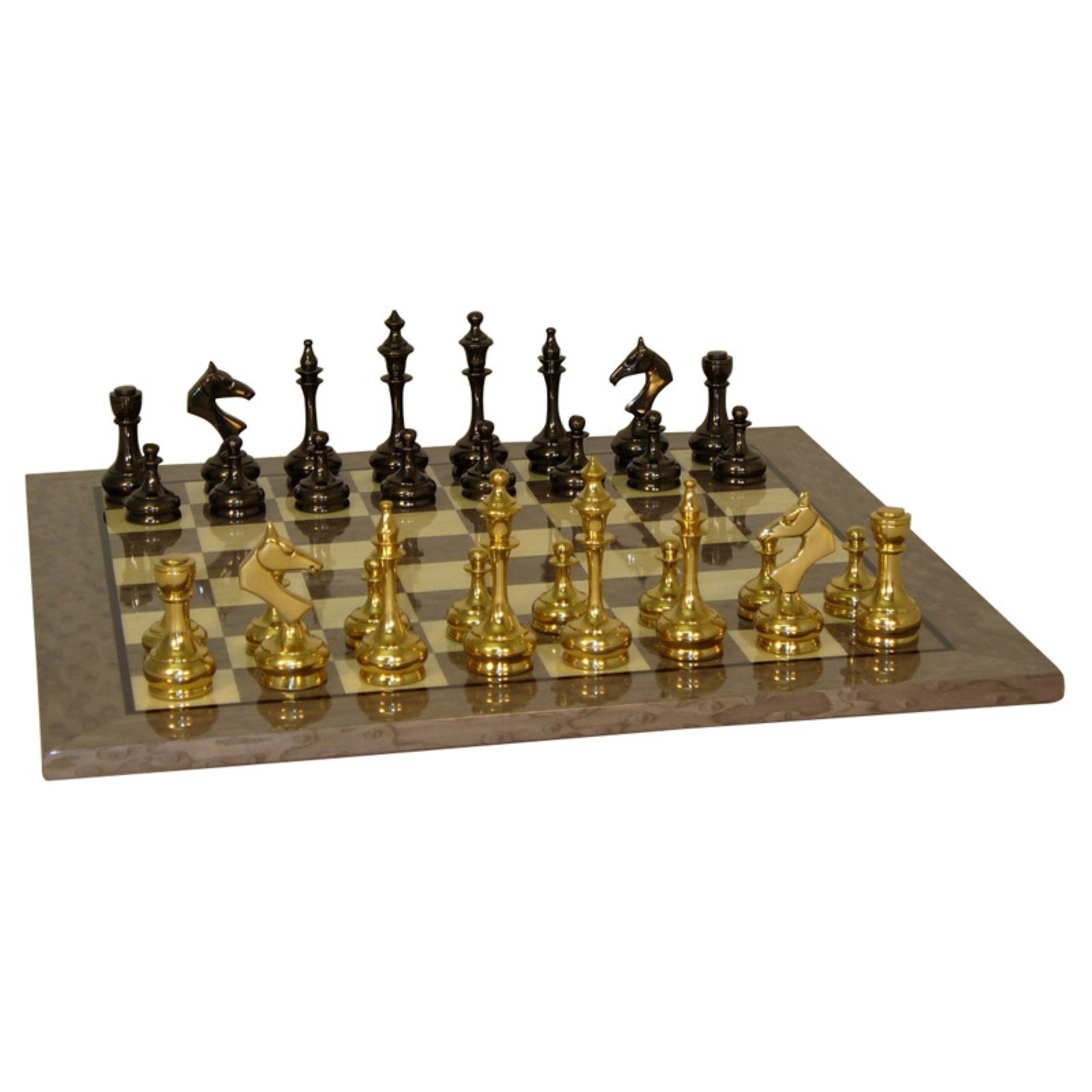 Solid Brass Slim Chess Set