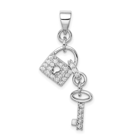 925 Sterling Silver Rhodium Plated Cubic Zirconia Lock and Key Shaped Pendant - image 1 of 2
