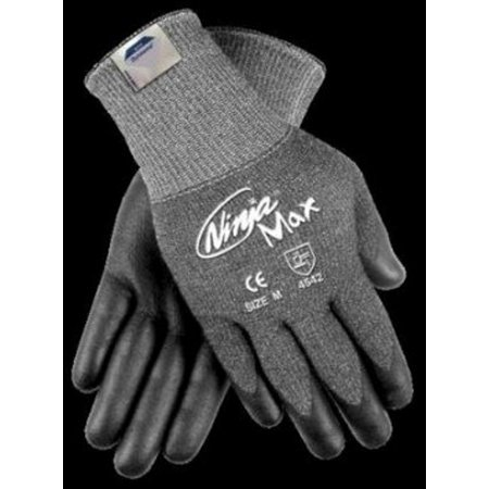 Memphis Small Ninja Max 10 Gauge Cut Resistant Black DSM Dyneema Bi-Polymer Palm And Fingertip Coated Work Gloves With Knit Wrist - Fingertip Coated Gloves