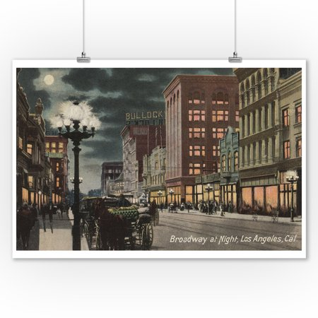 Los Angeles, CA - Street View of Broadway at Night (9x12 Art Print, Wall Decor Travel