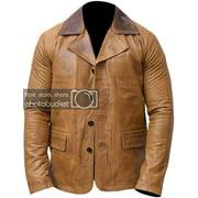 Mens Genuine Leather Jacket Coat Men's Brown Leather Coat Jacket