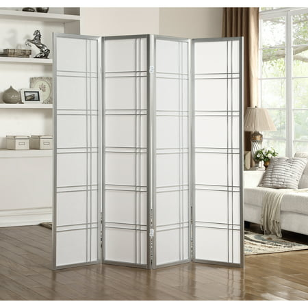 Roundhill Furniture Seto 4 Panel Room Divider Screen, Silver ()