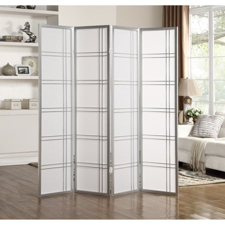 Roundhill Furniture Seto 4 Panel Room Divider Screen, Silver