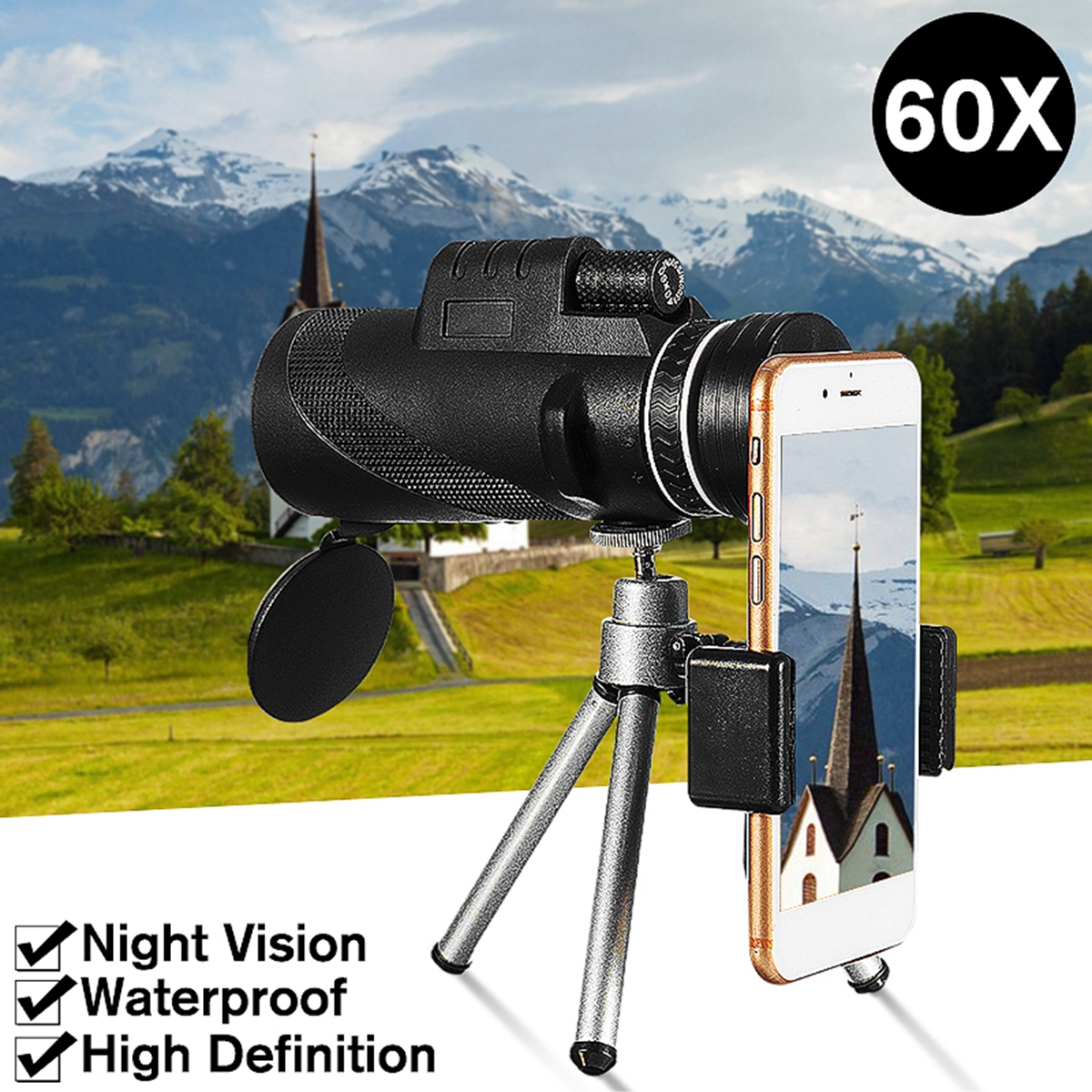 40x60 HD Waterproof Universal Phone Telescope,Focus Zoom Optical Lens Monocular Telescope+ Tripod + Mini Clip for Outdoor Camping Hunting Traveling Boating Beach (3 Patterns)