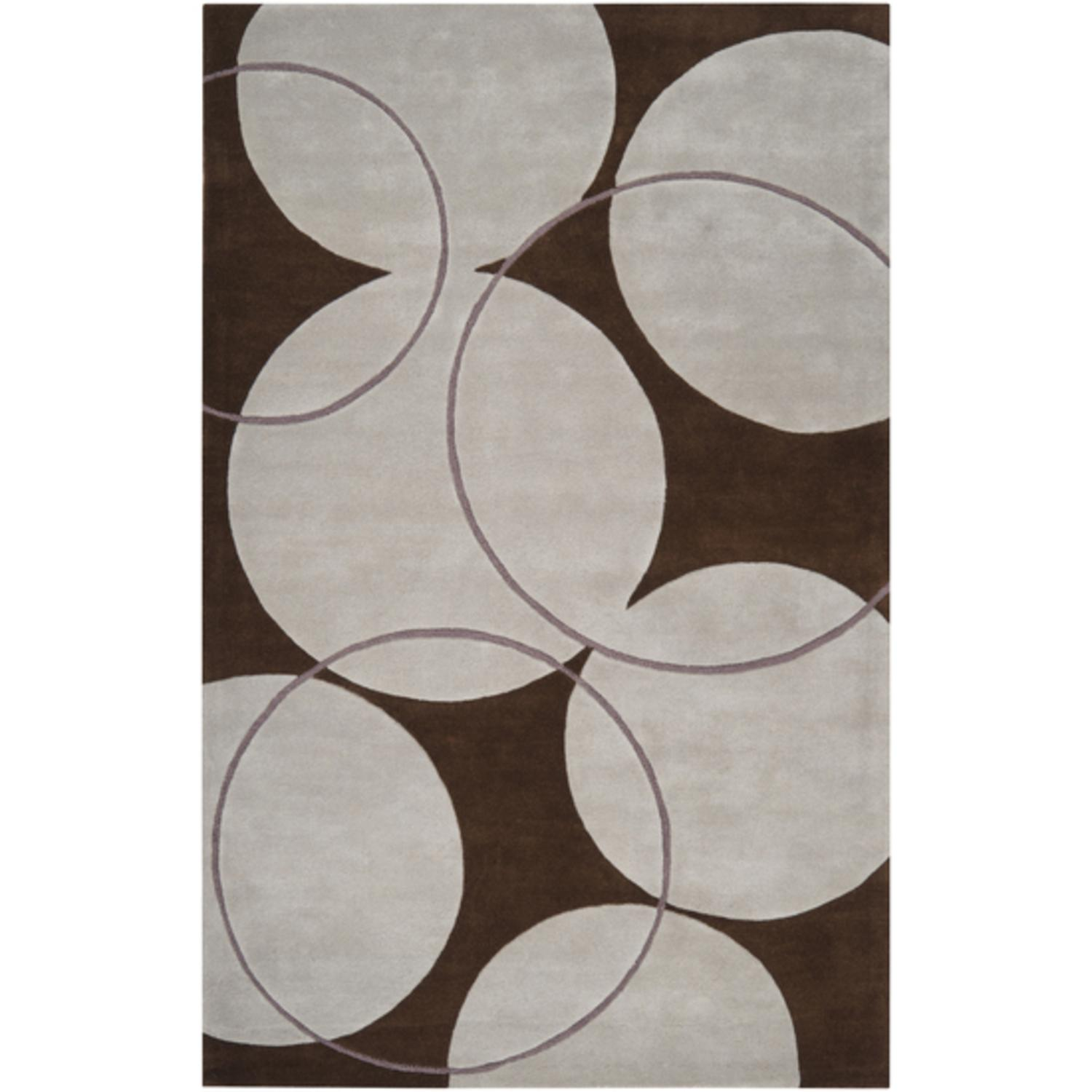 2' x 3' Bubble Spectacular Coffee Bean Brown and Bone Wool Area Throw Rug