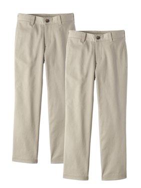 Wonder Nation Boys School Uniform Super Soft Stretch Twill Flat Front Pants, 2-Pack Value Bundle (Little Boys & Big Boys)