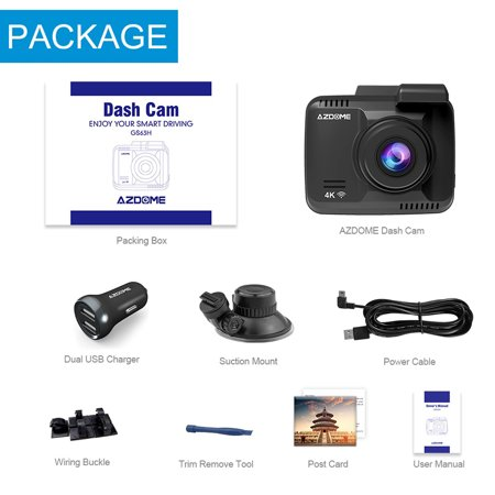 AZDOME GS63H Car DVR Recorder Dash Cam 4K Built-in GPS WiFi Dual Rear Lens Vehicle Camera Camcorder Night Vision Camera - image 4 of 7