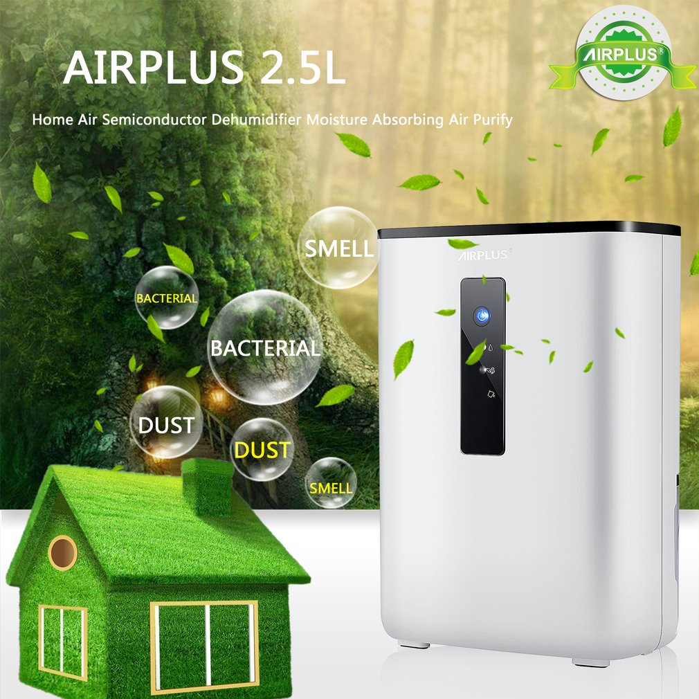 AIRPLUS 2.5L Home Air Dehumidifier 65W 110-240V Semiconductor Desiccant Moisture Absorbing Air Dryer Purify Electric Cooling