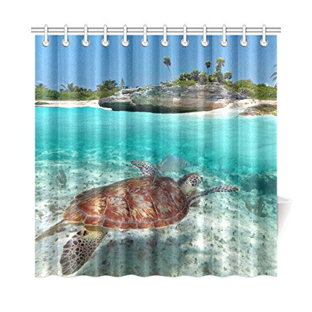 MKHERT Sea Turtle Shower Curtain Home Decor Bathroom 66x72 Inch
