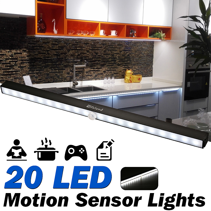 LED Closet Lights, Elfeland Under Cabinet Lights 20 LED Motion Sensor  Lights Battery Operated Wireless Under Closetlight Cabinet Lighting LED  Night ...