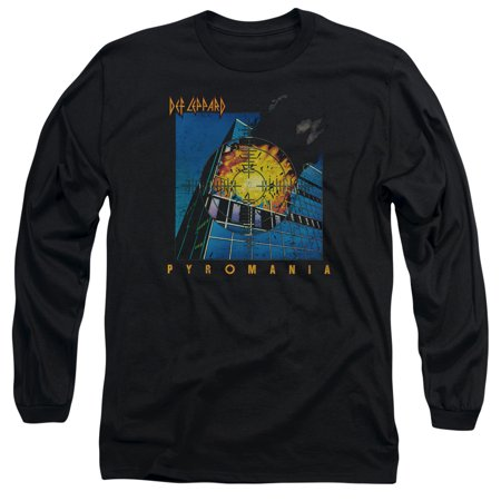 Def Leppard 80s Heavy Metal Band Pyromania Album Art Adult Long-Sleeve T-Shirt - 80s Heavy Metal