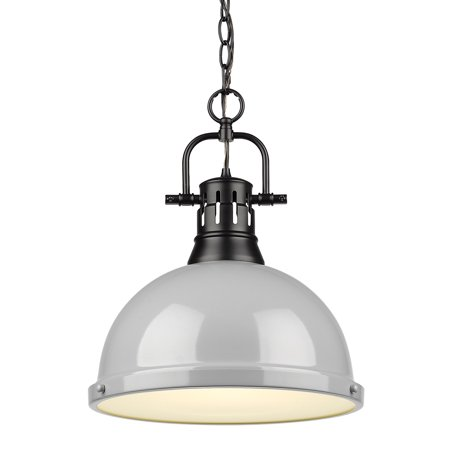 Duncan 1 Light Pendant with Chain in Black with a Gray Shade Chain Pendant Light