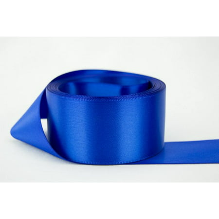 Ribbon Bazaar Double Faced Satin 1-1/2 inch Royal Blue 50 yards 100% Polyester Ribbon - Blue Ribbon Emoji