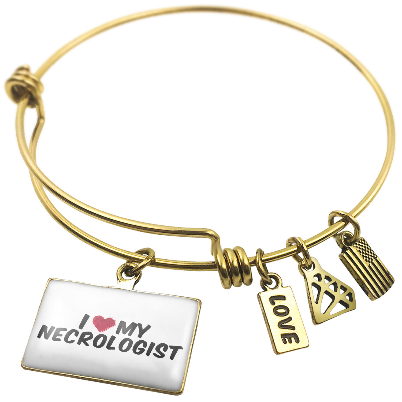 Expandable Wire Bangle Bracelet I heart love my Necrologist - NEONBLOND
