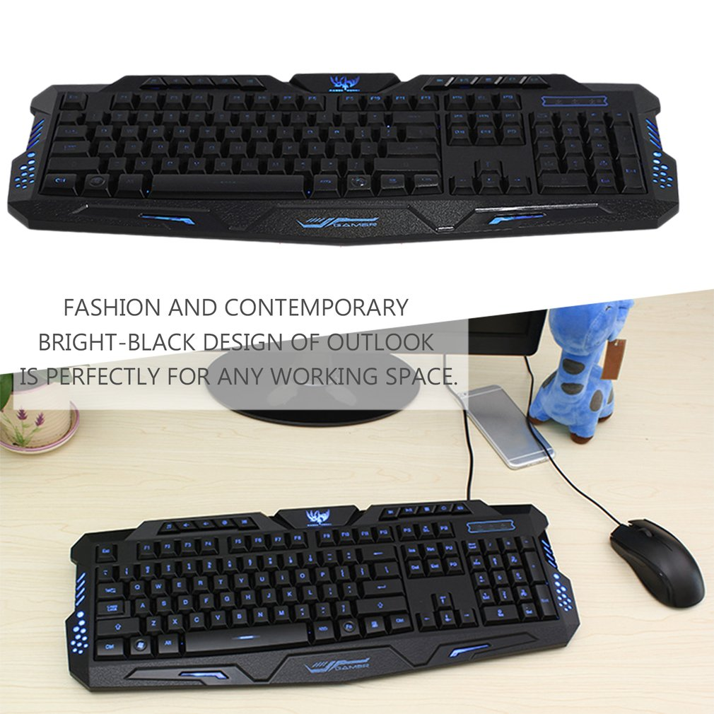 Fashion LED Backlight USB Wired Multimedia PC Gaming Keyboard with 3 Colors Game Exclusive Optimization Design