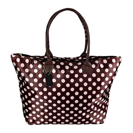 Fashion Polka Dot Tote - Peach Couture Womens Beach Fashion Large Travel Tote Handbag Shoulder Bag Purse Polka Dot Coffee White