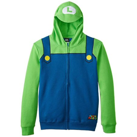 Nintendo - Luigi Youth Costume Zip Hoodie](Minecraft Zip Up Hoodie Youth)