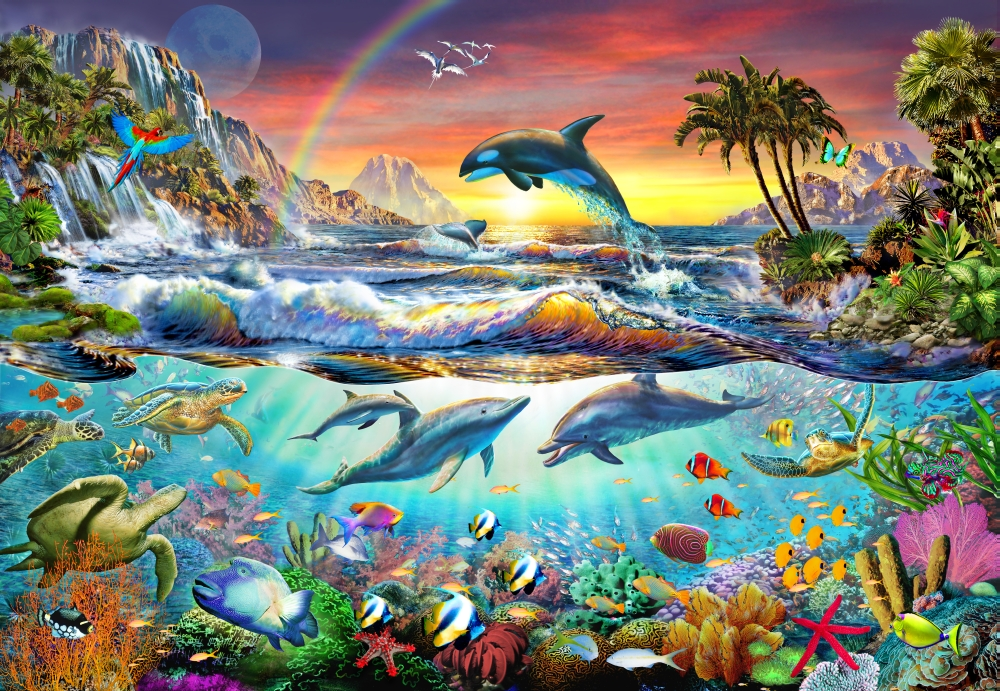 Adrian Chesterman Stretched Canvas Art Paradise Cove Medium 18 x 9 inch Wall Artwork Decor Size. by MGL Licensing