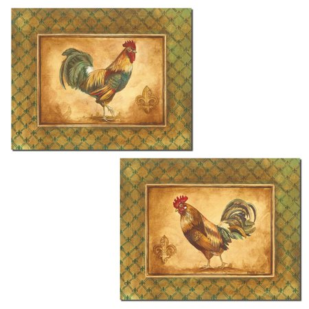 2 Fleur de Lis Country Rustic Rooster Set; Two 10X8 Poster Prints