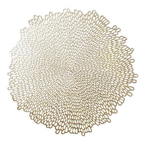 "Click here to buy Benson Mills Co. Benson Mills bloom Pressed Vinyl Placemat (Set of 4), 15.5"" , Gold by Benson Mills."