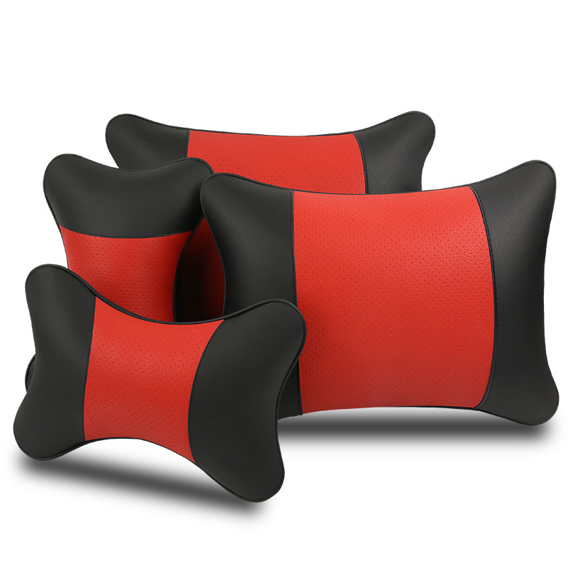 Fashion Simple Car Pillow Set Breathable Comfortable 2 Pcs Headrest + 2 Pcs Waist Pillow