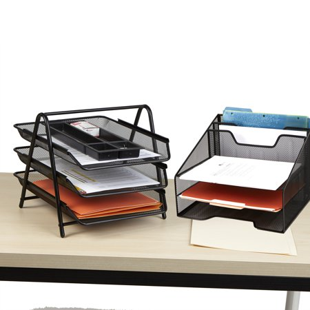 Mind Reader Metal Mesh Monitor Stand With Drawer Organizer Desk 5 Trays Desktop