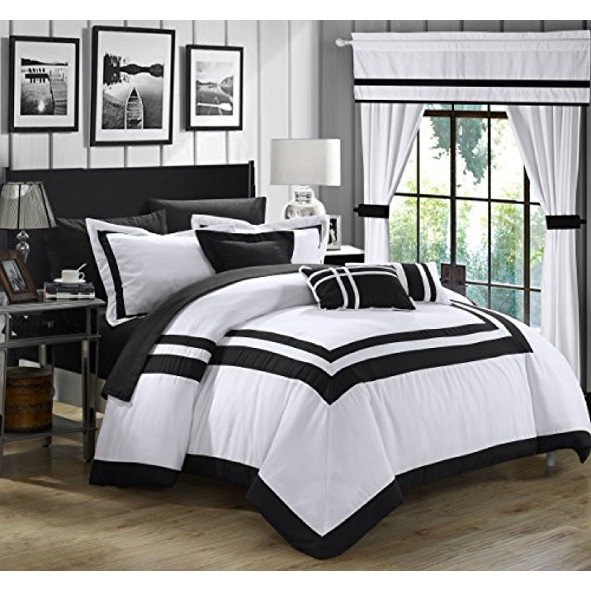Chic Home Ritz 20 Piece Comforter Set Color Block Bed In A Bag With Sheets Curtains Queen White Walmart Canada