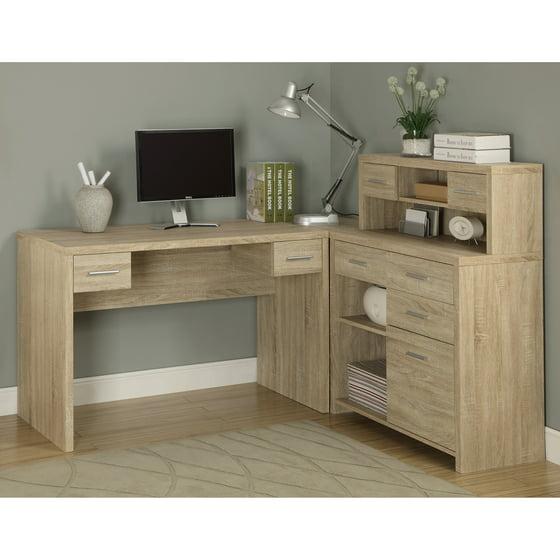 monarch shaped home office desk. Monarch Reclaimed-Look L-Shaped Home Office Desk Shaped N