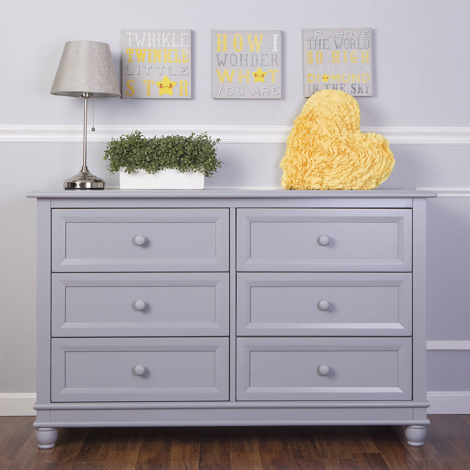Evolur Hampton Double Dresser, Pebble Gray