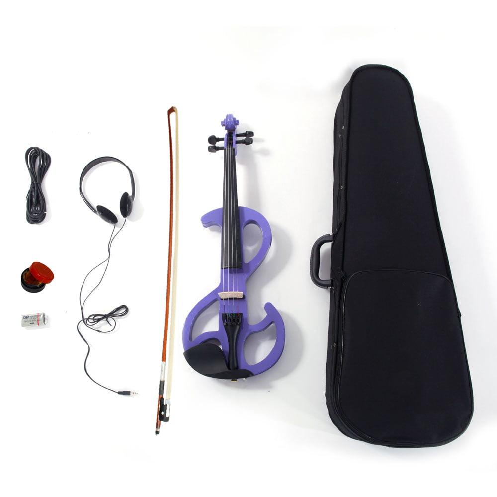 Ktaxon Purple 8 Pattern Electroacoustic  Violin - Full Size +Case + Bow + Rosin