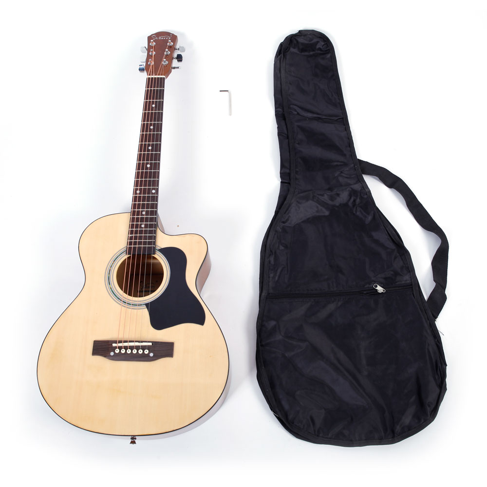 Ktaxon GT304 38 inch Spruce Front Cutaway Folk Guitar with Bag & Board & Wrench Tool Glossy Edge Burlywood Color