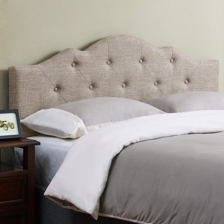 Mainstays Minimal Tufted Rounded Headboard, Multiple Sizes and Colors ()