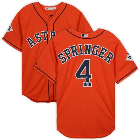 World Series Replica (George Springer Houston Astros 2017 World Series Champions Autographed Orange Replica Jersey - Fanatics Authentic Certified)