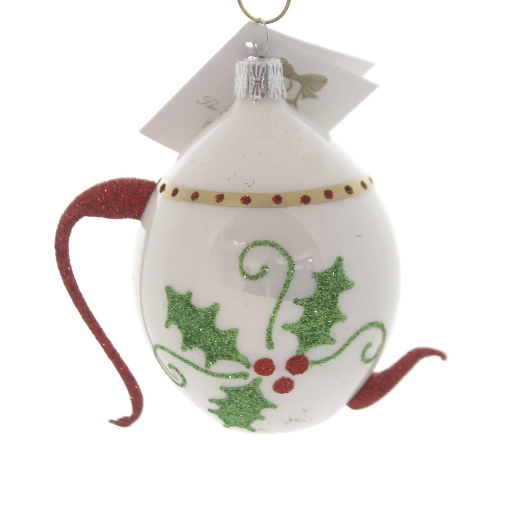 Golden Bell Collection HOLLY TEAPOT Glass Ornament Czech Hospitality Nv905