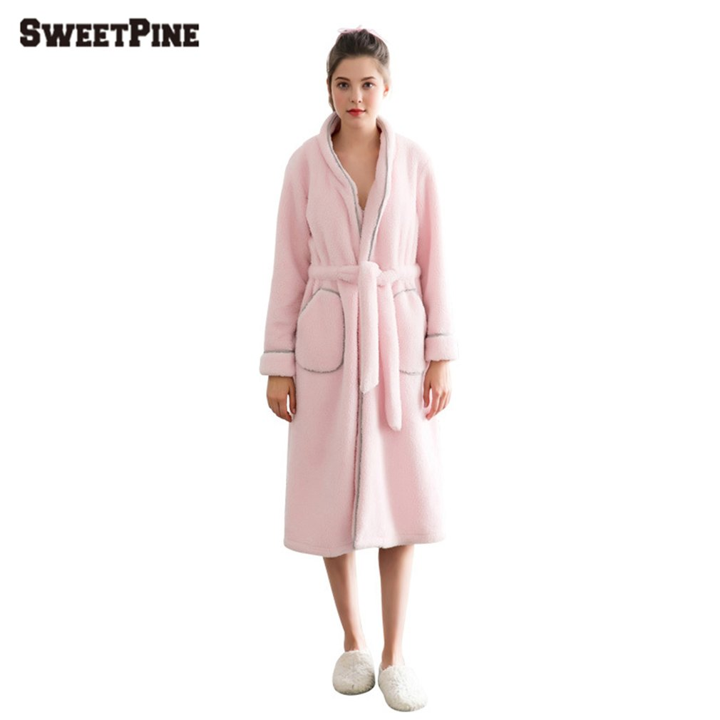 f3f71ddce817 SWEETPINE Solid Color Women Night Robe with Waist Belt   Pockets for Winter
