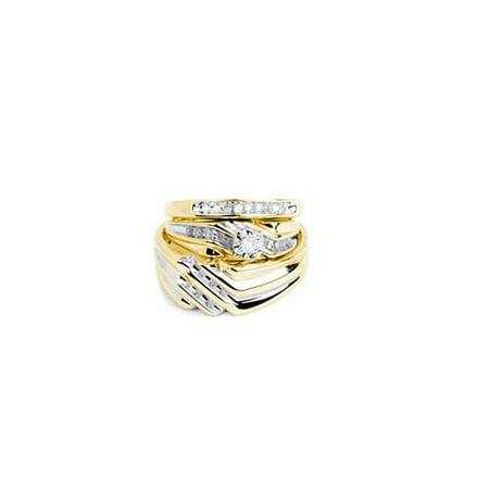 - 10K Yellow Gold 0.32ctw Fancy Sleek Fashion Pave Round Diamond Trio Set Ring