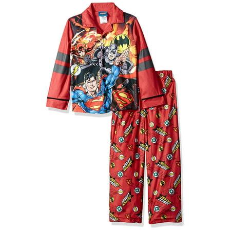 DC Comics Boys' Justice League Coat PJ Set, Button Front Top, With Pant (Pj Jacket)