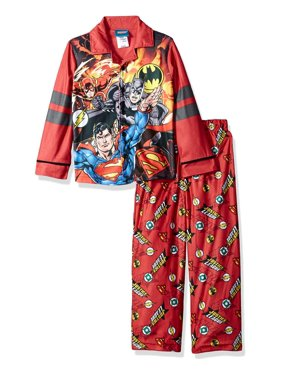 DC Comics Boys' Justice League Coat PJ Set, Button Front Top, With Pant