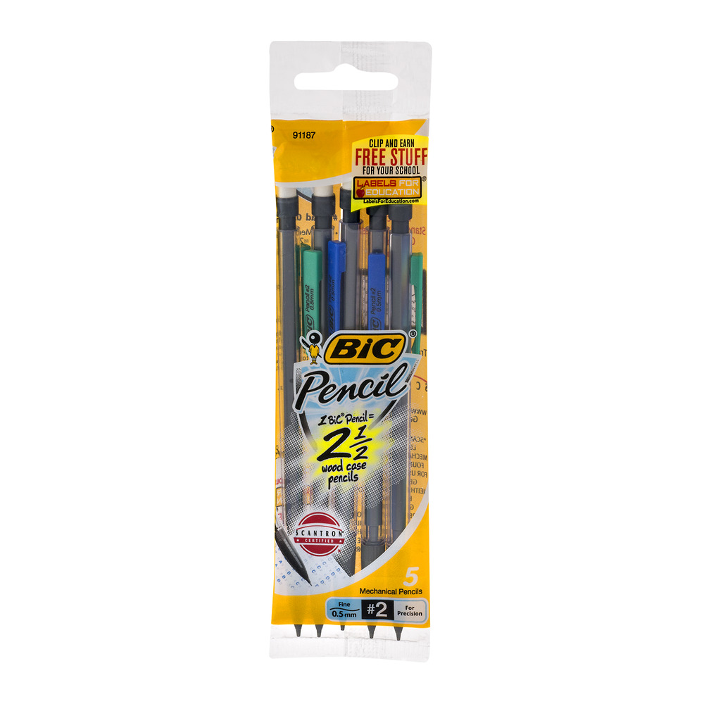 BIC Pencil Xtra Precision Mechanical Pencil, Clear Barrel, Fine Point (0.5 mm), 5-Count