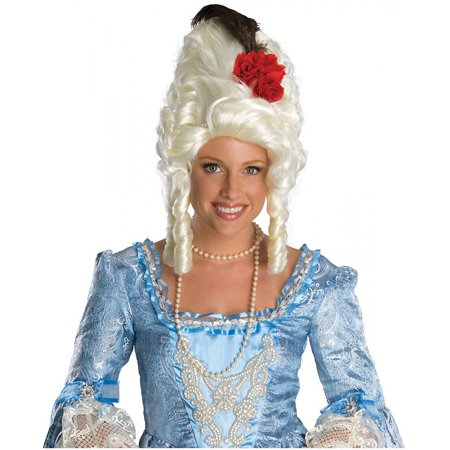 Marie Antoinette Wig with Red Rose Adult Costume Accessory