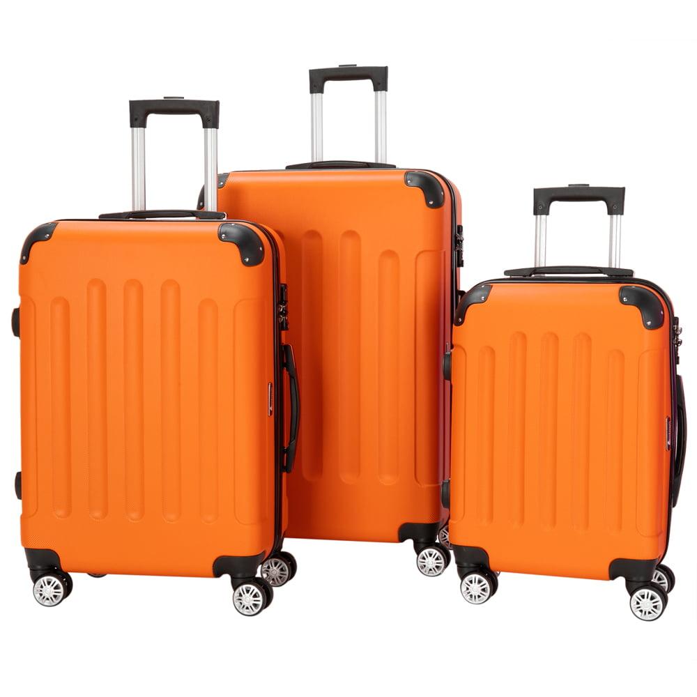 Zimtown Orange 3 Pieces Travel Luggage Set Bag Abs Trolley Carry On Suitcase Tsa Lock Walmart Com Walmart Com