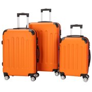 Best Suitcases - Orange 3 Pieces Travel Luggage Set Bag ABS Review