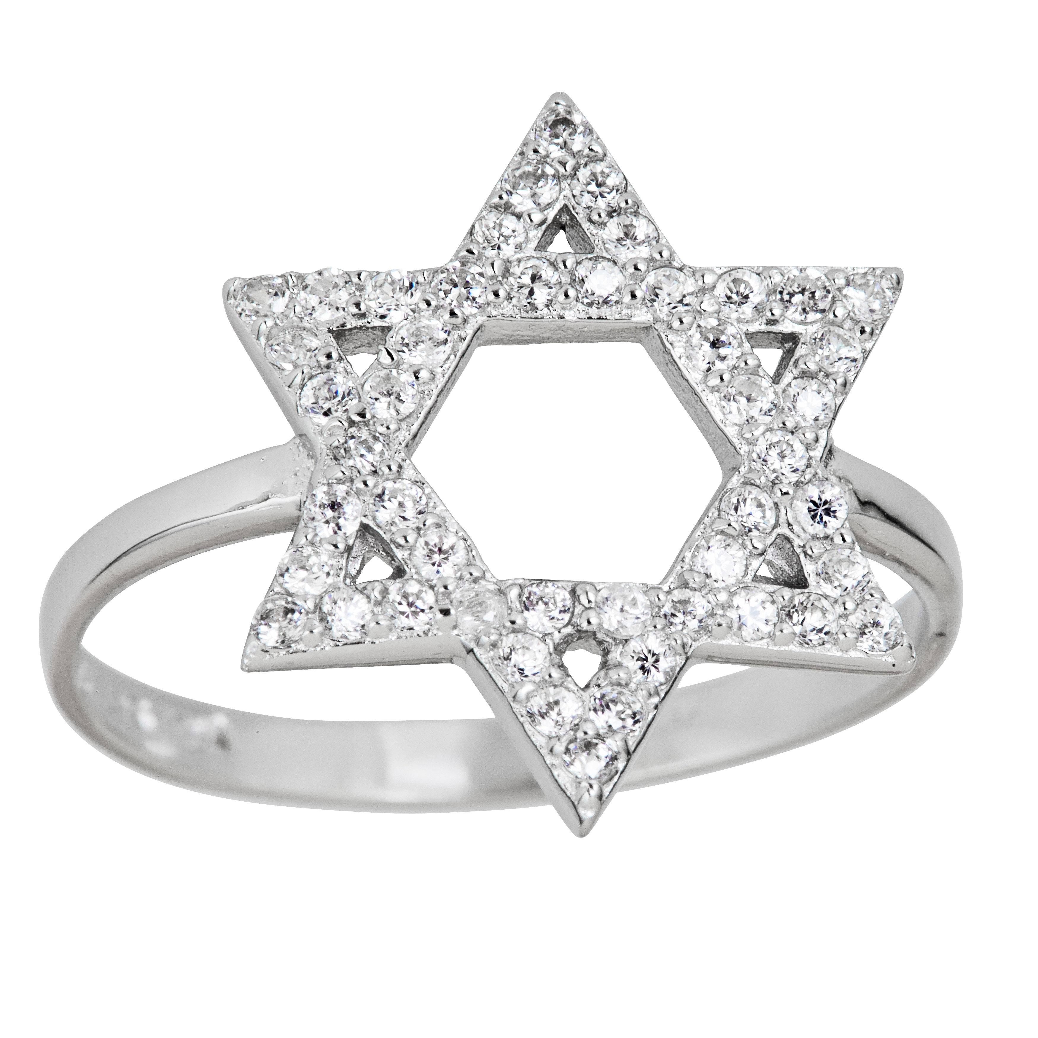 Sterling Silver Micropave Star of David Ring with Cubic Zirconia 8