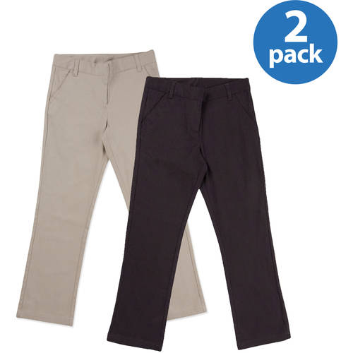 George Girls' School Uniforms, Flat Front Pant Sizes 4-16, 2-Pack Value Bundle