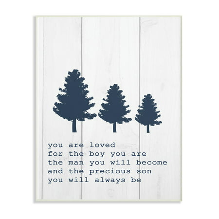 The Kids Room by Stupell You Are Loved Son Three Tree Planks Wall Plaque Art, 10 x 0.5 x 15 (Love Tree)