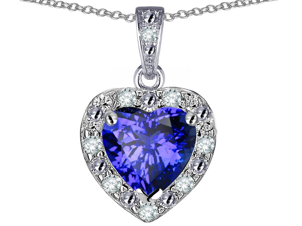 Star K 14k White Gold Heart Shape Simulated Tanzanite Halo Pendant Necklace by