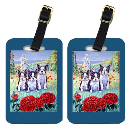 Pair of 2 Boston Terrier Three in a Row Luggage Tags ()