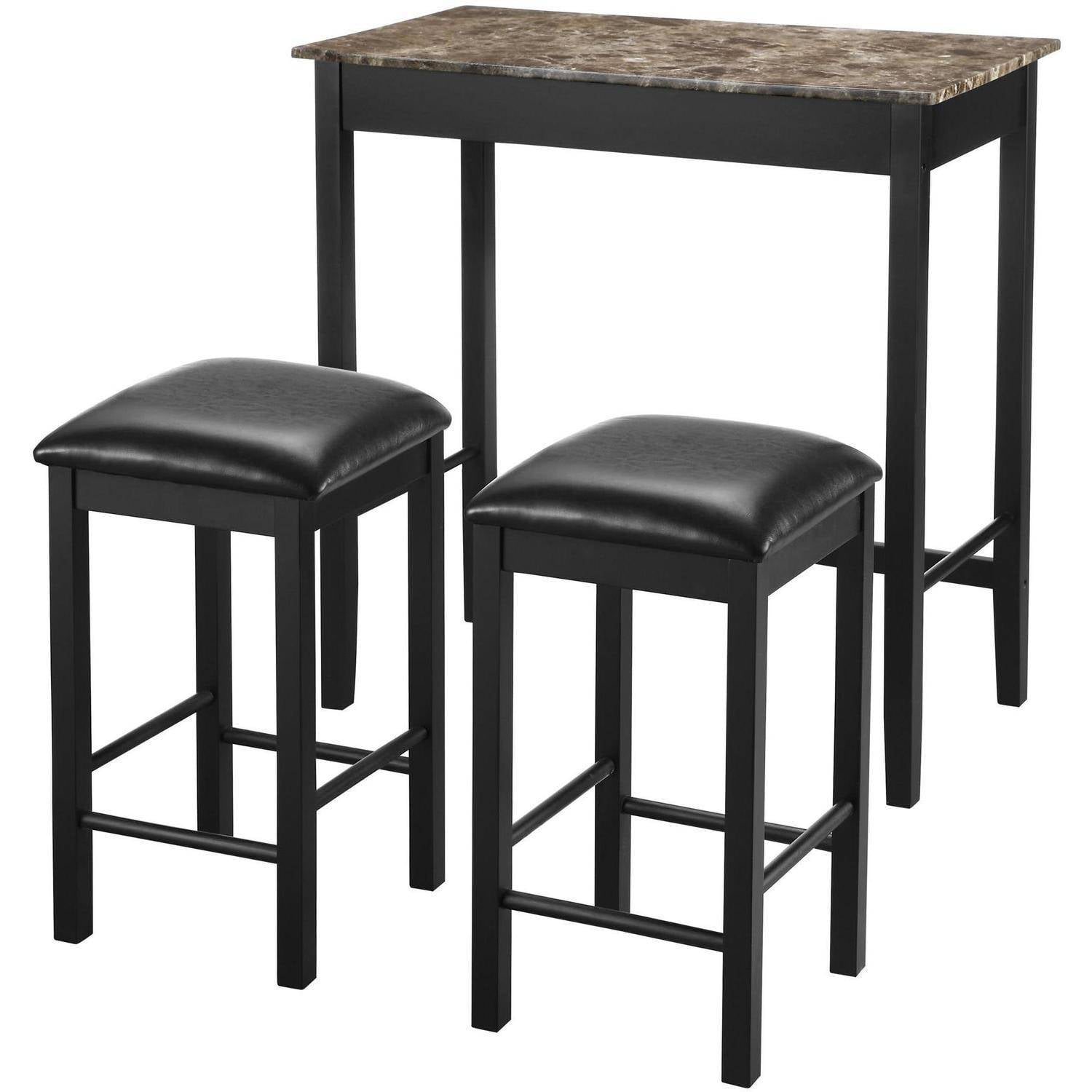 Dorel Living Devyn 3 Piece Faux Marble Pub Dining Set Black