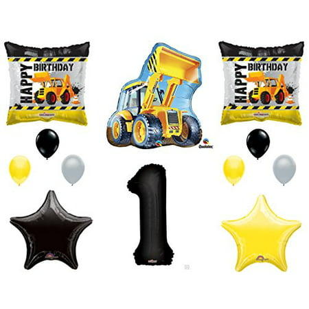 1st Birthday Boy Party Supplies (1st BIRTHDAY CONSTRUCTION Balloons Decoration Supplies Party Boy Dump Truck Bulldozer)
