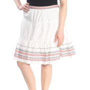 TOMMY HILFIGER Womens White Embroidered Knee Length A-Line Skirt  Size: 16